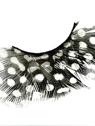 White Polka Dots Feather Carnival Eyelashes