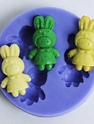 coelhos em forma de ferramentas de decoração fondant bolo de chocolate silicone molde cupcake, l5.6cm * * w5.6cm h1cm