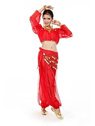 Belly Dance Women's Fashion Long Sleeve Performance Outfit Including Top&Bottom&Waist Chain(More Colors)