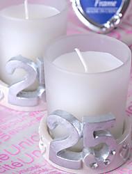 25 aniversario de bodas de plata vela (juego de 4)