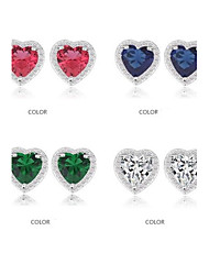 Romantic Heart Shape Crystal Stud Earrings Micro Pave Small CZ Stones Earrings (More Colors)