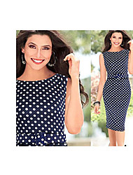 Amica Women's Polka Dots Sleeveless Sheath Dress