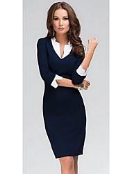 Vestido ajustado 3/4 mangas ocasional de la mujer hqtjz