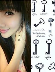 1Pc Personality Lock Key Chain Tattoo Stickers Temporary Tattoos