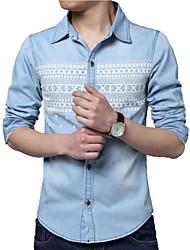Men's Print Long Sleeve Top , Cotton/Denim Casual/Plus Sizes