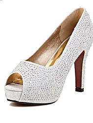 Women's Shoes Peep Toe Stiletto Heel Pumps with Crystal Wedding Shoes