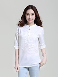 Women's White T-shirt , Crew Neck ¾ Sleeve