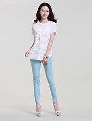 Women's Plus Size Casual/Daily Simple Summer Blouse,Solid Round Neck Short Sleeve Linen Thin