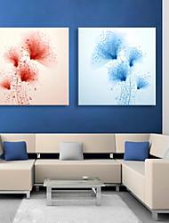 e-FOYER étiré conduit toile effet l'impression fleur d'art flash LED clignotant ensemble de deux d'impression de fibre optique