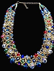 Luxurious Gold Plated Multi-Color Multi-Shape Faux Crystal Stone Triplex Row Necklace Fashion Handmade for Party