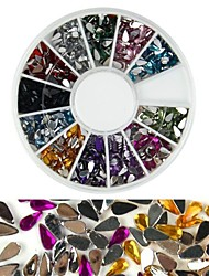 600pcs 12 couleur en forme de goutte diamant nail art décoration