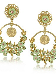 Orecchini 2015 Brincos Pendientes Luxury Hot Italian Design Brand Coin Flower Earrings for Women
