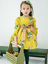 Girl's Brown / Yellow Dress Cotton Spring / Fall