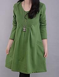 costura vezes plus size manga longa vestido rodada das mulheres (mais cores)