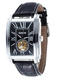 Men's  Hollow Engraving Rectangle Dial  Leather Strap Automatic Mechanical Watch(Assorted Colors)