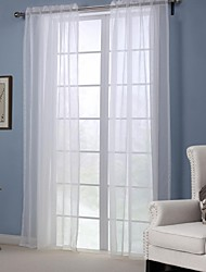 Modern One Panel Solid White Bedroom Polyester Sheer Curtains Shades