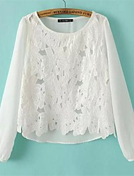 crochet de seda del brote camisa de gasa manga larga de las mujeres