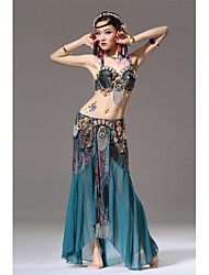 Belly Dance Stage Performance Tribal Style Metal Outfits-Set of 2 (Top and Skirt)
