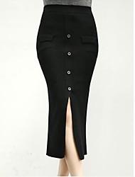 sólido de moda saias cor de mulheres