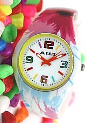 Women Round Silicone Strap Japanese Quartz Movement Watch FW922A Cool Watches Unique Watches