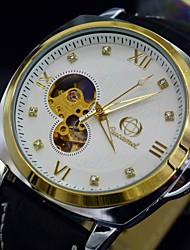 o relógio automático de auto-liquidação relógio de pulso analógico mecânico diamantes homens discar pulseira de couro