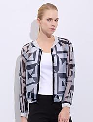 cuello costilla impresión hilo de vidrio chaqueta de vestir ver a través de las mujeres shangman