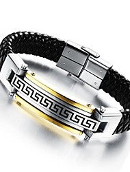 Men's Bracelet 24 K Greatwall Grain Leather Woven Titanium Steel Products Jewelry