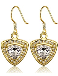 Classics Shield-Drop Golden Gold-Plated Drop Earrings(Golden)(1Pair)