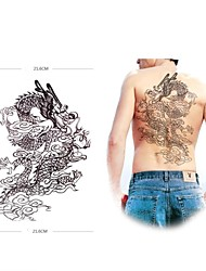 1 Pcs Waterproof  Large Black Dragon Backing Pattern  Tattoo Stickers
