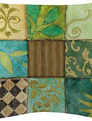 Set of 2 Green Plant Checks Velvet Decorative Pillow Cover