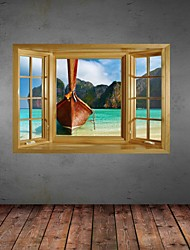 3D Wall Stickers Wall Decals,Seaview Boat Decor Vinyl Wall Stickers