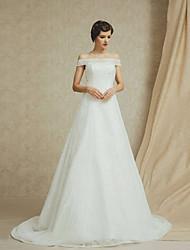 A-line Court Train Wedding Dress -Off-the-shoulder Lace