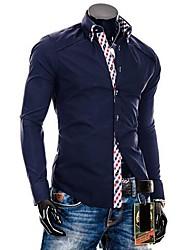 Men's And The Wind Lattice Decorative Double Collar Design Long Sleeve Shirt