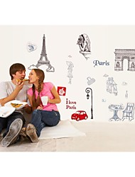 Wall Stickers Wall Decals, Style Silhouette City Of France PVC Wall Stickers