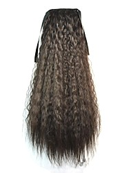 Tie Long Women Corn Roll Wavy Ponytails (Natural Black)