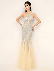 Formal Evening Dress - Champagne Plus Sizes / Petite Trumpet/Mermaid One Shoulder Floor-length