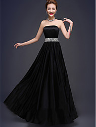 Floor-length Stretch Satin Bridesmaid Dress - Black A-line Strapless