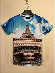 uomini notch stampa floreale t-shirt manica corta moda causual