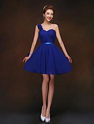 Short/Mini Bridesmaid Dress - Royal Blue Sheath/Column One Shoulder