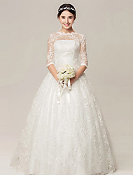 Ball Gown Wedding Dress - White Floor-length High Neck Lace