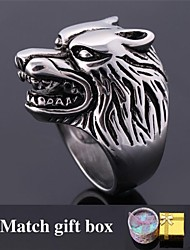 Fancy Vintage Cool Men's 316L Stainless Steel Wolf Head Big Band Ring for Men High Quality Never Fade Match Gift Box