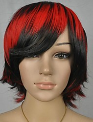 Women's Black Red Mix Straight Short Party Cosplay Wig