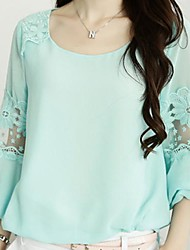 Women's Casual/Daily Simple Spring / Summer Blouse,Solid U Neck Long Sleeve Pink / Green Medium