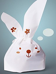 50pcs Cute White Rabbit Cookie Bakery Candy Biscuit Jewelry Gift Plastic Packaging Bag Baby Wedding Party Decorations