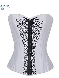 Shaperdiva Women's Satin Paisley Corset Top Waist Training Corsets and Bustiers