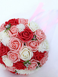 Red、Pink and White rose Wedding Bouquet