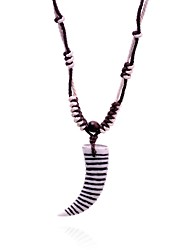 Lureme® Ethnic  Resin  Horn Pendant  Wax Cord  Adjustable Necklace