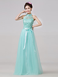 Floor-length Bridesmaid Dress - Sky Blue A-line High Neck