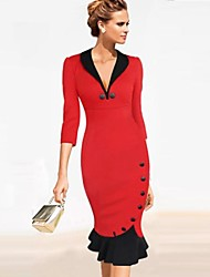 Women's V Neck Contrast Color Slim Trumpet Three Quarter Sleeve Dress