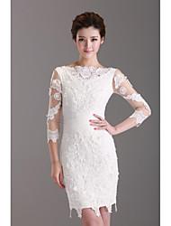 Dress - White Sheath/Column Bateau Short/Mini Lace
